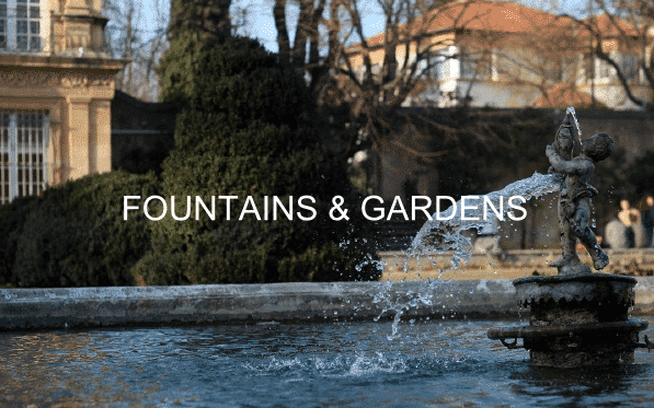 A fountain in a garden